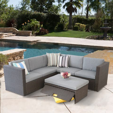 5 Pieces Outdoor Rattan Sofa Patio Sectional Sets