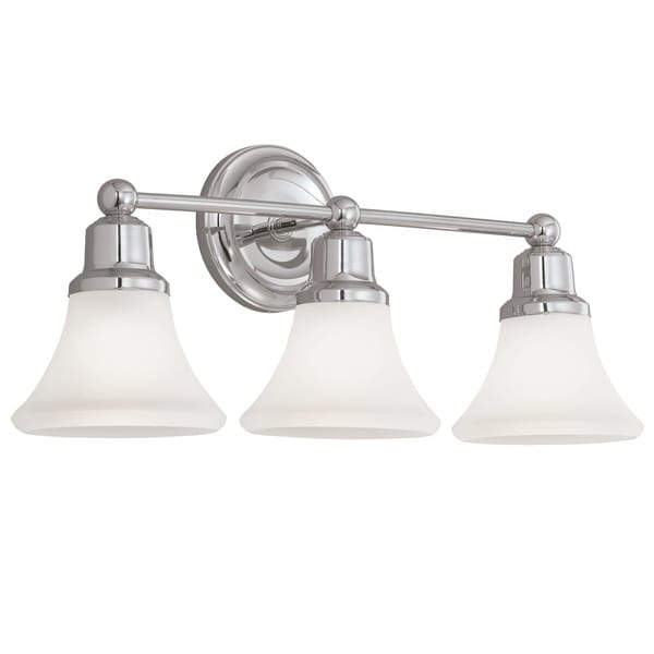 "Norwell Lighting 8953 Elizabeth 10"" Tall 3 Light Bathroom Vanity Light with White Glass Shades"