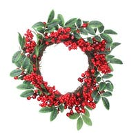 Red Berries and Two-Tone Green Leaves Artificial Christmas Wreath - 18-Inch, Unlit