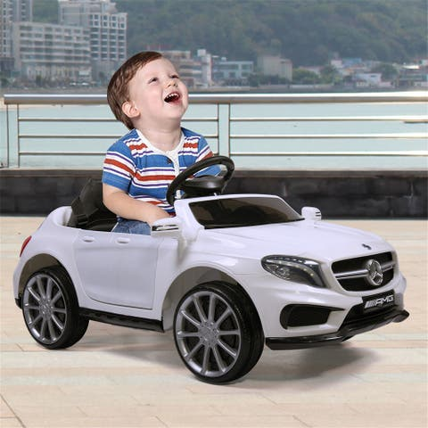 """12V electric Mercedes-Benz children's car with remote control blue - 7'6"""" x 9'6"""""""