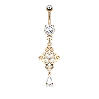 CZ Center Heart Filigree Cross with Pear CZ Drop Dangle Surgical Steel Navel Ring -14GA (Sold Ind.)