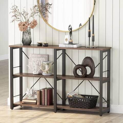 3-Tier Entryway Console Table, Industrial TV Stand with Storage Shelves
