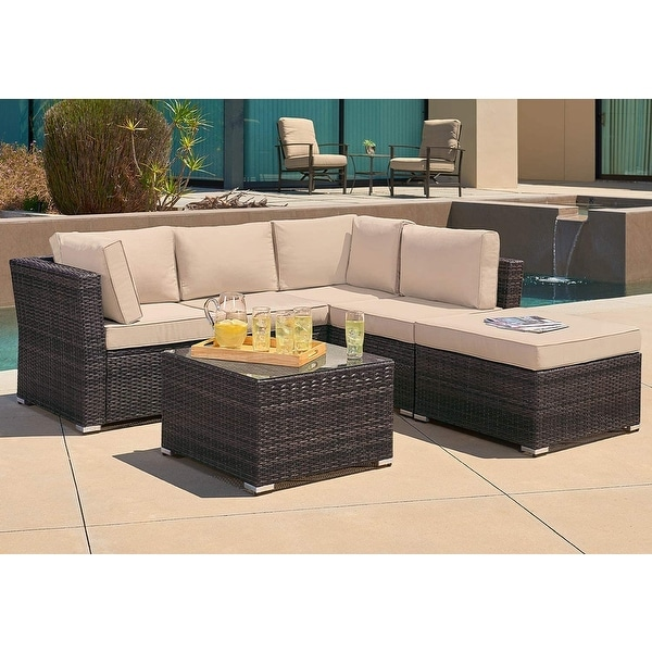 Suncrown Outdoor 4-Piece Contemporary Patio Rattan Sectional Set. Opens flyout.