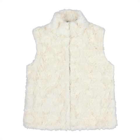 QZUnique Womens V-Neck Faux Fur Vest Sleeveless Waistcoat Jacket