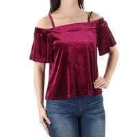 ONE CLOTHING $19 Womens New 1357 Burgundy Pleated Velvet Top XS Juniors B+B