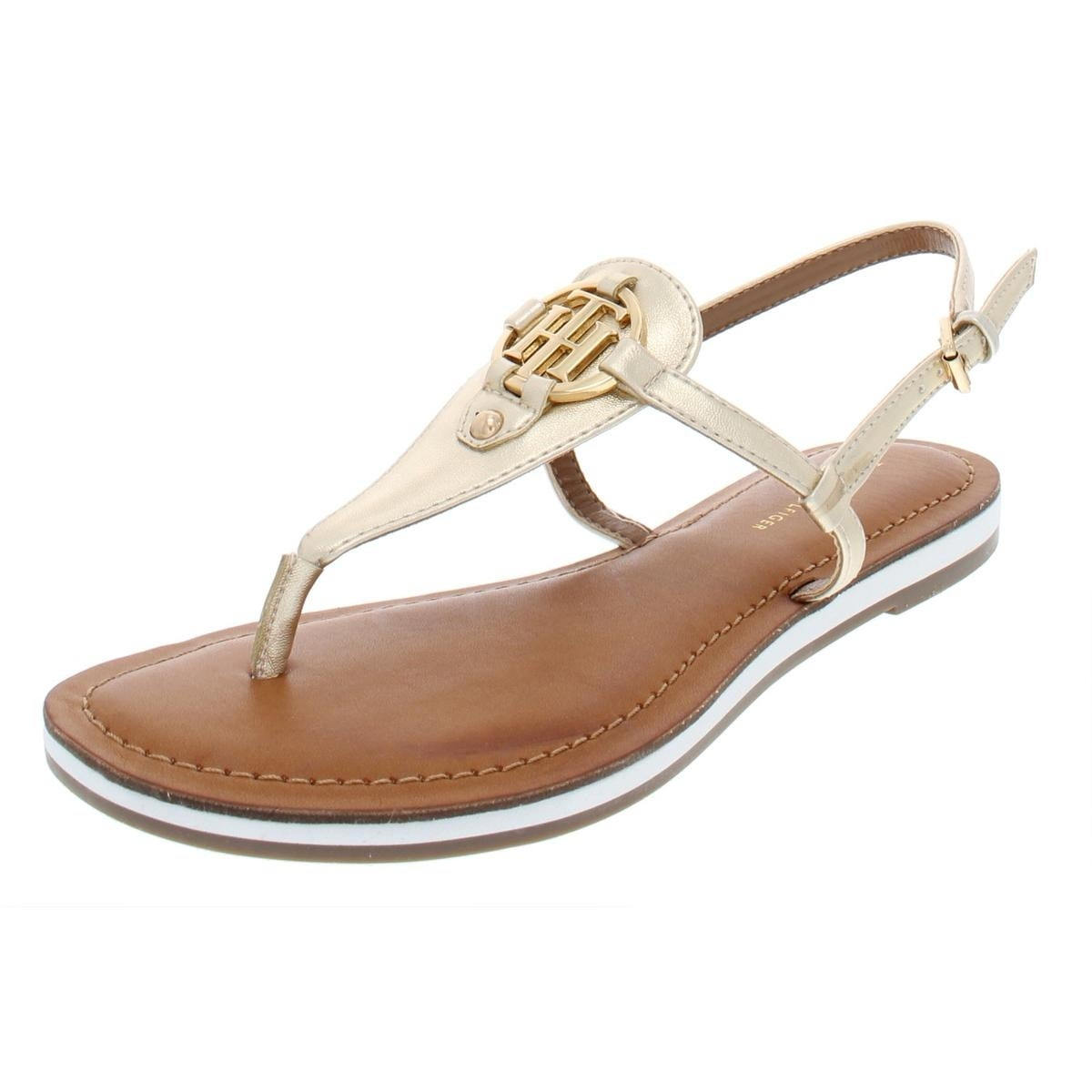 info for outlet store sale watch Shop Tommy Hilfiger Womens Genei Thong Sandals Metallic T-Strap ...