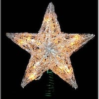 "12"" Lighted Snowy Crystal Style Star Christmas Tree Topper - Clear Lights"