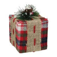 """4.75"""" Red Plaid Square Gift Box with Pine Burlap Bow Table Top Christmas Accent"""