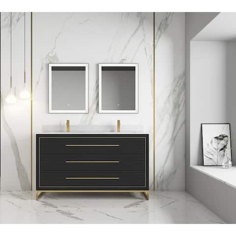 "None Barsalona 60"" Double sink Vanity Dawn grey Finish , Golden Brass Hardware"