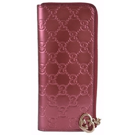 New GUCCI Women's 295671 GG Lovely Shine Rose 3/4 Zip Around Wallet Clutch