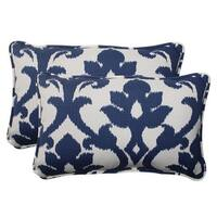 "Set of 2 Navy Victorian Floral Outdoor Corded Rectangular Throw Pillows 18.5"" - Blue"