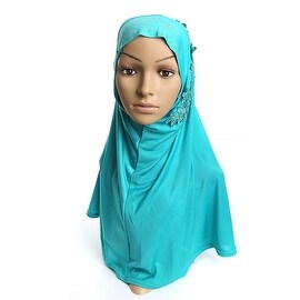 Muslim Gauze Lace Zircon Kerchief Scarf peacock blue