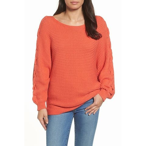 Caslon Orange Womens Size Medium M Knitted Lace-up Sleeve Sweater