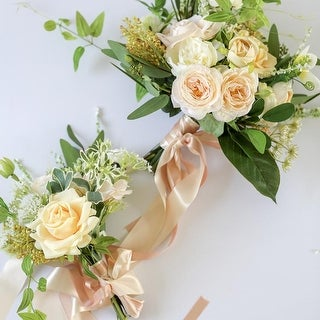 Wedding Bouquet Champagne Rose White Daisy with Greenery Leaves