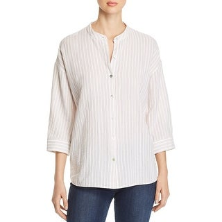 Eileen Fisher Womens Blouse Tunic Mandrian Collar - Khaki - M