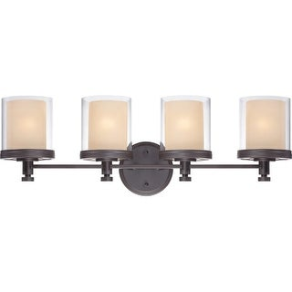 Nuvo Lighting 60/4544 Decker Four Light Bathroom Fixture with Clear and Cream Glass