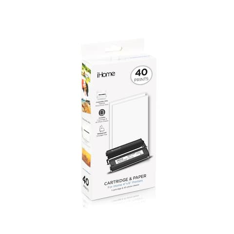 iHome 4x6 Inch Ink and Paper Cartridge, 40 Prints Total (IHC46_40)