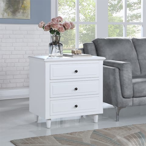 White 3-Drawer Side Table Nightstand