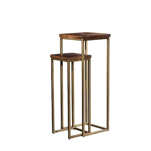 Pedestal Plant Stand Side Table Set of 2