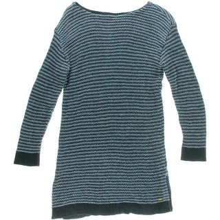 Tommy Hilfiger Womens Ribbed Trim Boatneck Tunic Sweater