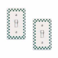 2 Porcelain Switch Plate Green Checkered Single Toggle