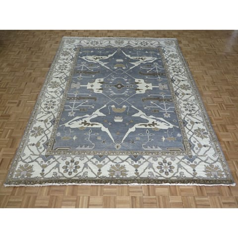 """Hand Knotted Light Blue Oushak with Wool Oriental Rug (9'3"""" x 11'9"""") - 9'3"""" x 11'9"""""""