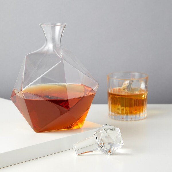"""Faceted Crystal Liquor Decanter by Viski - Clear - 9"""" x 6"""""""