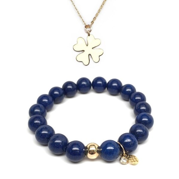 Blue Jade Bracelet & Clover Gold Charm Necklace Set