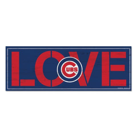 """Chicago Cubs Love 8"""" x 23"""" Wood Sign"""