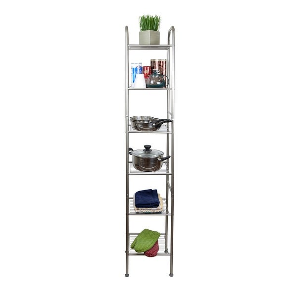 Hermosa Home 6 Tier Steel Decorative Storage Shelving Unit - Satin Nickel