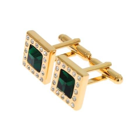 Dolce & Gabbana Gold Brass Clear Green Crystal Cufflinks