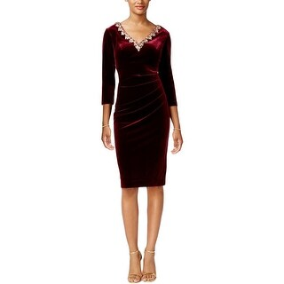Alex Evenings Womens Petites Party Dress Velvet Embellished