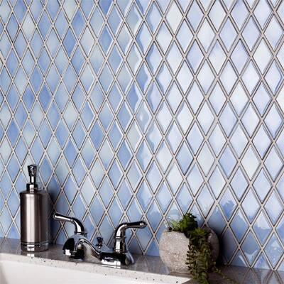 SomerTile Hudson Kite Frost Blue 11.88x10-inch Porcelain Mosaic Tile - CASE