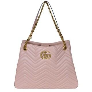 Gucci Pink Chevron Leather Marmont GG Tote Purse Shoulder Bag