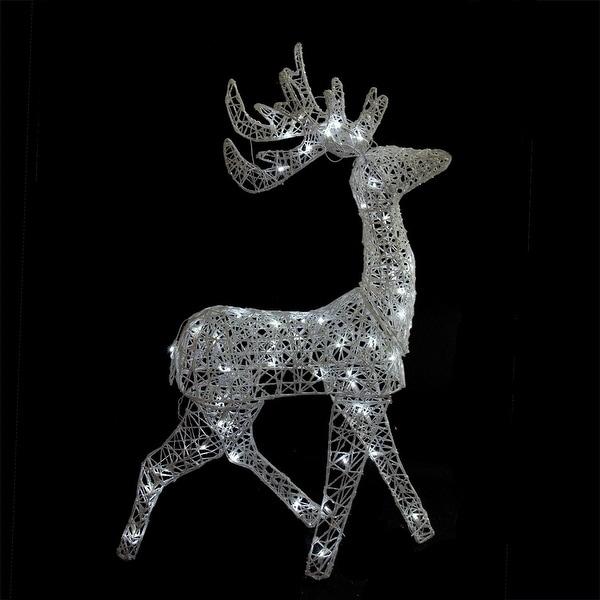 "52"" LED Lighted Elegant White Glittered Reindeer Christmas Outdoor Decoration"