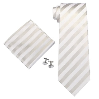 Men's Stripes Silver And White 100% Silk NeckTie Set With Cufflinks & Hanky 27A