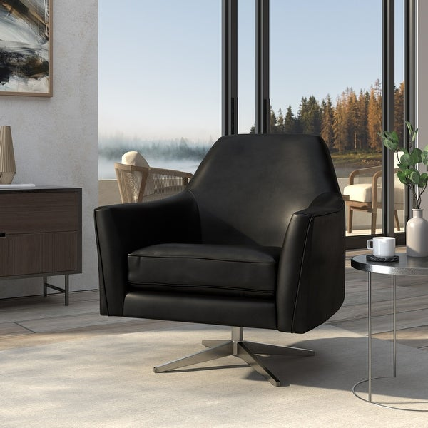 Presada Faux Leather Swivel Armchair by Greyson Living. Opens flyout.