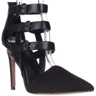 Elie Tahari Andover Buckle Straps Pointed Toe Heels, Black