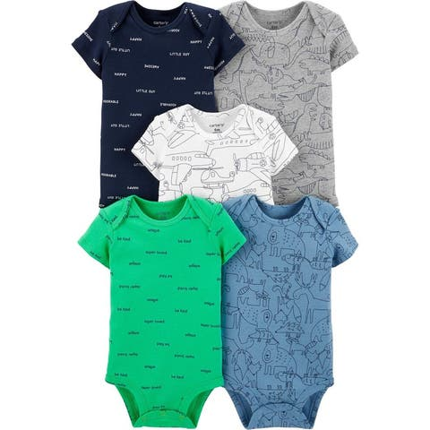 Carter's Baby Boys' 5 Multi-Pack Bodysuits , Airplane, 18 Months