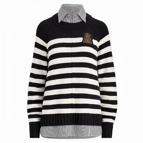 Lauren by Ralph Lauren Sweater White Black Large L Collared Striped