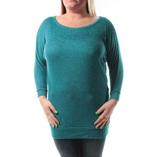 Womens Teal Speckle Dolman Sleeve Boat Neck Top Size L