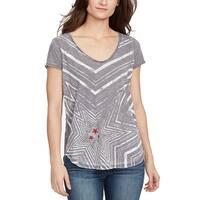 William Rast Gray White Women's Size XL Graphic Tee-Shirt Top