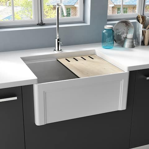 EMPIRE Devon 24 in. Fireclay Workstation Reversible Farmhouse Kitchen Sink