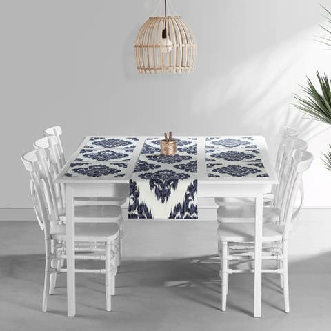 Exclusive Fabrics Ikat Blue Printed Cotton Table Runner & Placemats