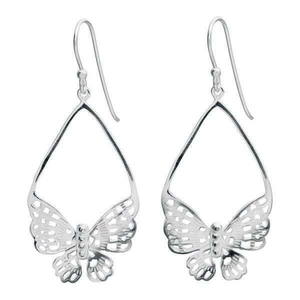 """Women's Butterfly Lace Sterling Earrings - Hook Close - Silver - 2"""""""