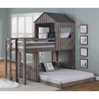 Link to Twin-over-Full Rustic Dark Grey Campsite Loft Similar Items in Kids' & Toddler Beds