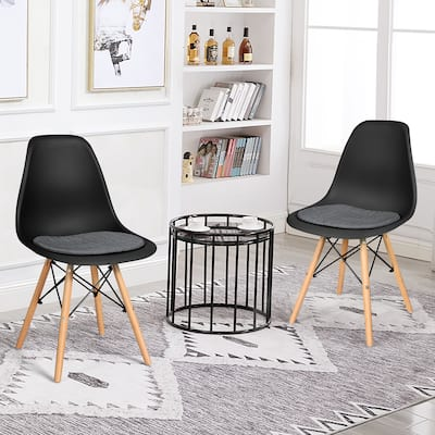 Dining DSW Chairs Modern Mid Century Shell Chairs with Linen Cushion