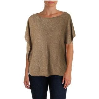 Lauren Ralph Lauren Womens Metallic Linen Blend Tank Top Sweater
