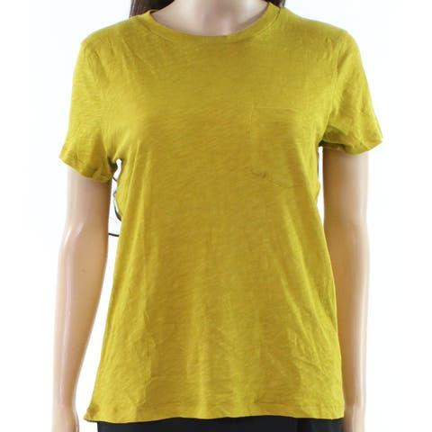 Madewell Yellow Womens Size Medium M Front Pocket Crewneck Knit Top