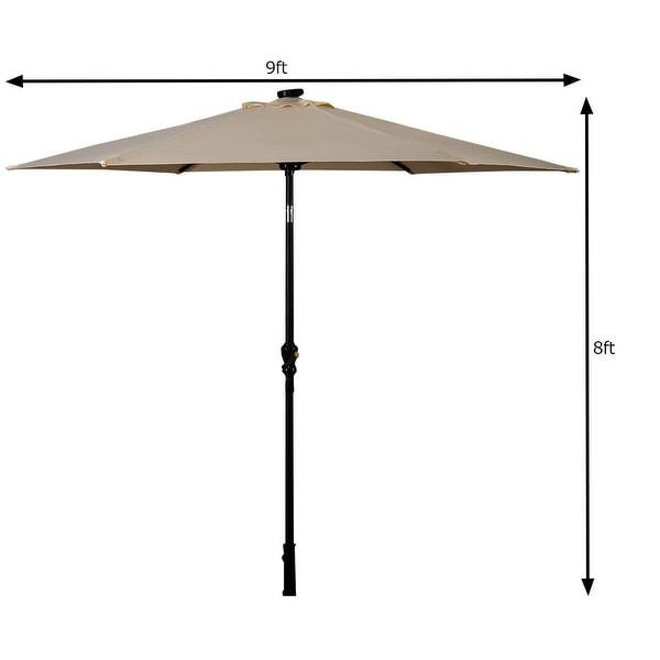 Costway 9FT Patio Solar Umbrella LED Patio Market Steel Tilt W/ Crank
